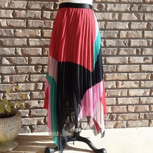 Joie multi color asymmetrical pleated skirt.
